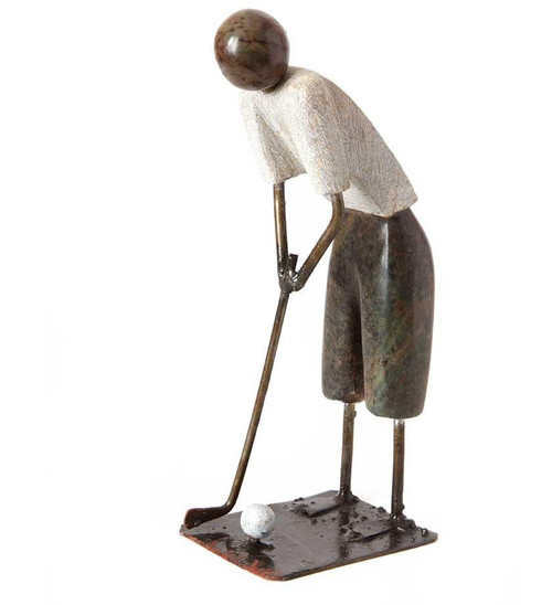 Swahili African Modern Tee Time Hand-Carved Springstone Golfer Sculpture