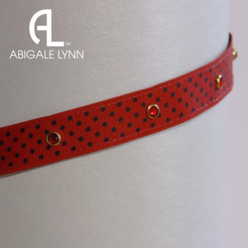 Abigale Lynn Visor Band - Red Swiss Dot