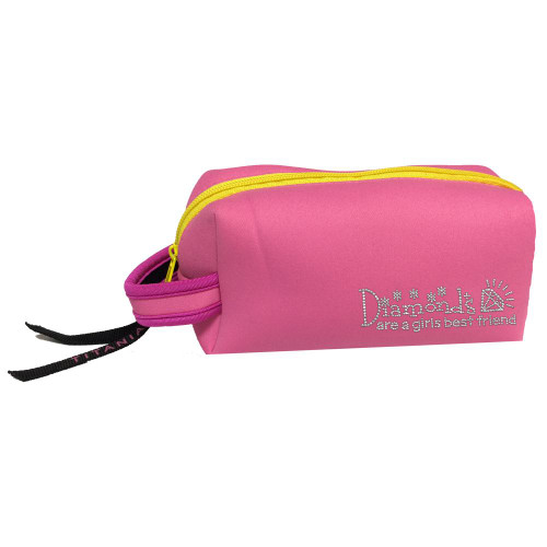 Titania Golf: Neon Cosmetic Bag - Diamonds Are A Girl's Best Friend