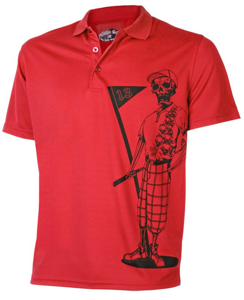 Tattoo Golf: Men's Performance Mr. Bones Golf Polo - Red
