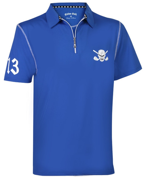Tattoo Golf: Men's Polo Golf Shirt - Lucky 13/Red Line Hybrid Performance (Blue/White)