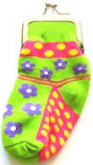 Sock Change Purse: Flowers and Dots
