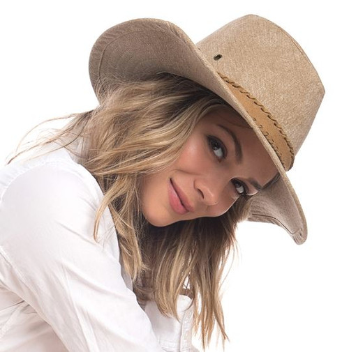 Ale by Alessandra - Womens Canvas Fedora Hat - Jaxon Caramel