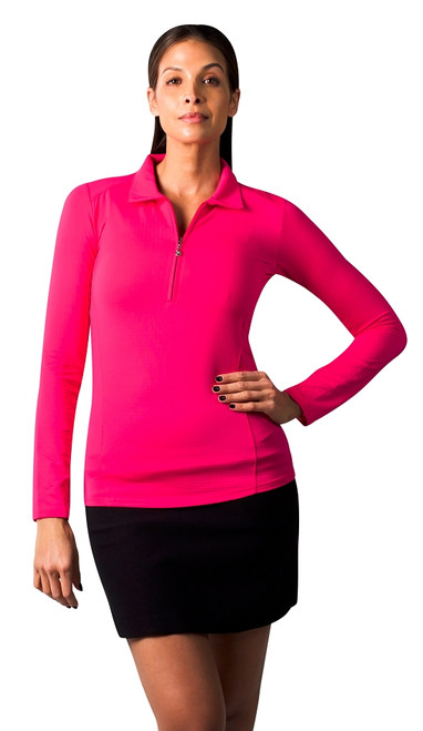 SanSoleil: Ladies UPF 50 SolTek Ice Zip Polo - 900601