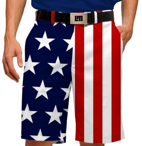 Loudmouth Golf: Men's StretchTech Shorts - Stars & Stripes