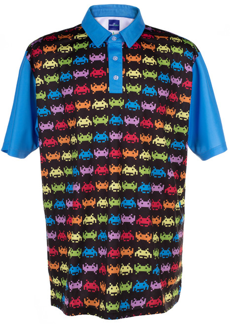 ReadyGOLF Mens Golf Polo Shirt - Invaders from Space
