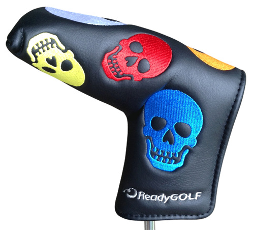 ReadyGolf: Embroidered Blade Putter Cover - Rainbow Skulls