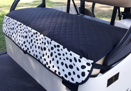 GolfChic: Golf Cart Seat Cover - Black Quilt with B&W TOGO Outdoor Print Fabric Trim