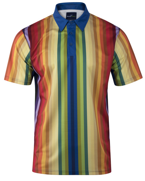 Mens Rainbow Stripe Golf Polo Shirt by ReadyGOLF