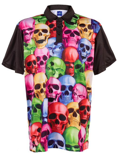 Pile of Skulls Mens Golf Polo Shirt by ReadyGOLF