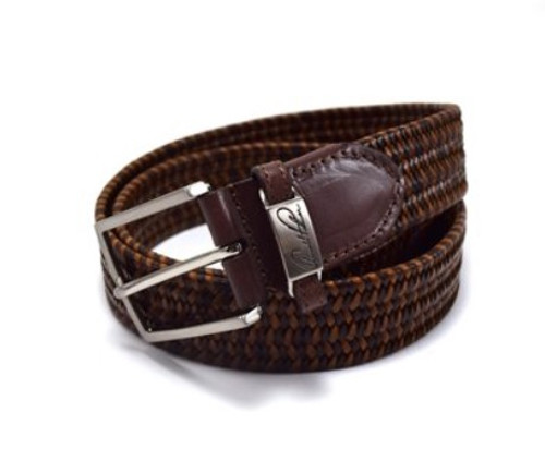 Arnold Palmer: Men's Bonded Leather Stretch Braid - Brown/Cognac