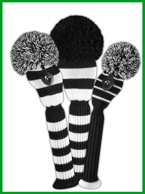 Just 4 Golf: Stripe Headcover Set - Black and White
