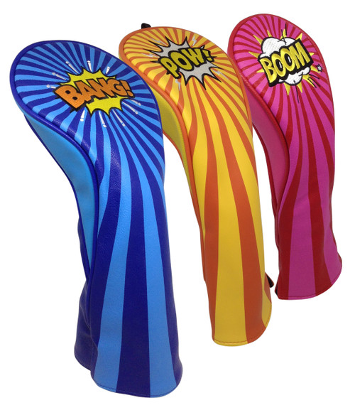 BANG! POW! BOOM! Embroidered Headcover Set by ReadyGOLF - Driver, Fairway, Hybrid