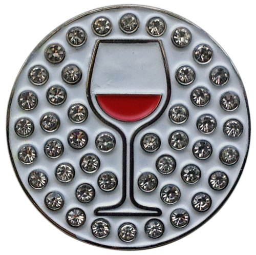 ReadyGolf: Wine (Red) Ball Marker & Hat Clip with Crystals