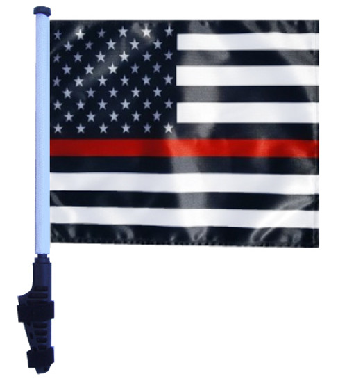 SSP Flags: 11x15 inch Golf Cart Flag with Pole - Thin Red Line USA Black and White
