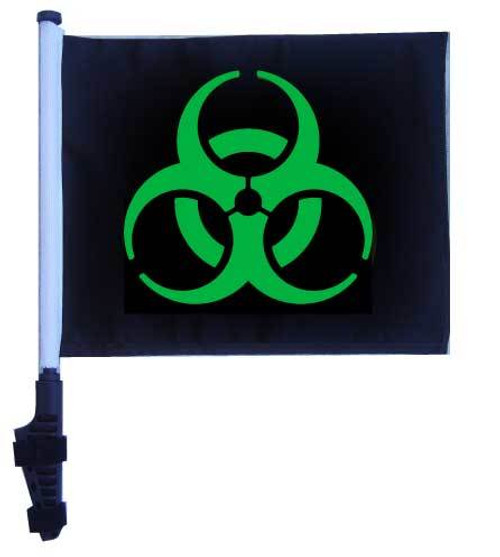 SSP Flags: 11x15 inch Golf Cart Flag with Pole - Biohazard Green