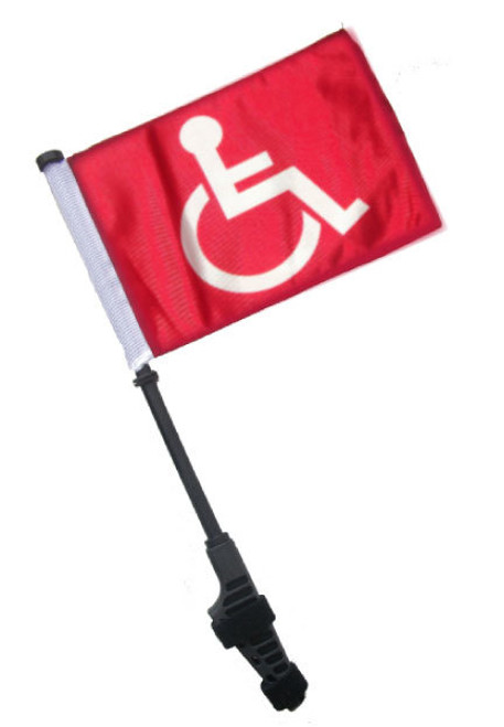 SSP Flags: Small 6x9 inch Golf Cart Flag with EZ On/Off Pole Bracket - Handicap (Red)