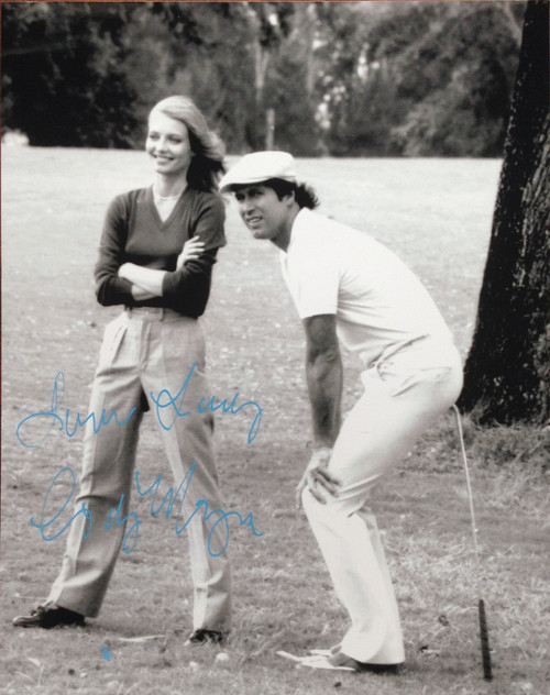 "Cindy Morgan ""Lacey Underall"" Signed 8x10 Caddyshack B & W Photo with Chevy Chase"