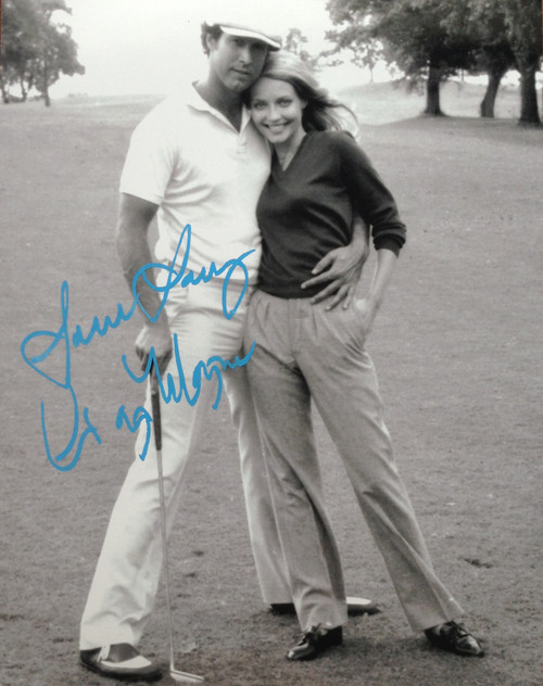 "Cindy Morgan ""Lacey Underall"" Signed 8x10 Caddyshack B & W Photo with Ty Webb"