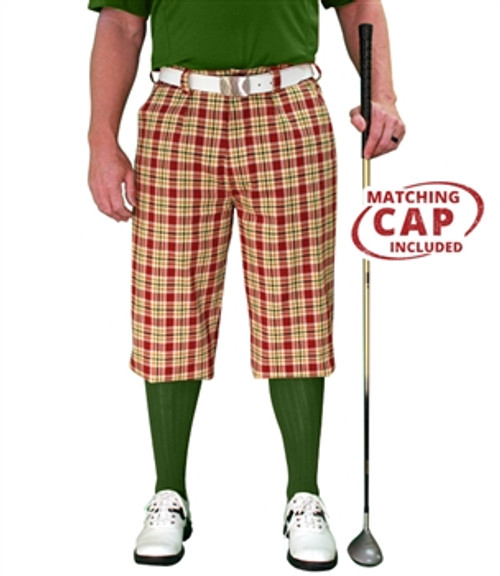 Golf Knickers: Men's 'Par 5' Plaid Golf Knickers & Cap - Wallace
