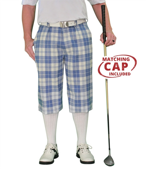 Golf Knickers: Men's 'Par 5' Plaid Golf Knickers & Cap - Waterford