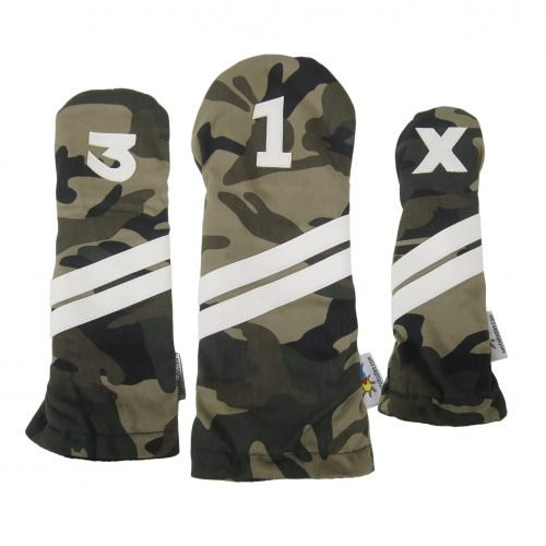 Sunfish: DuraLeather Headcovers Set - Camo Fabric with White Stripes