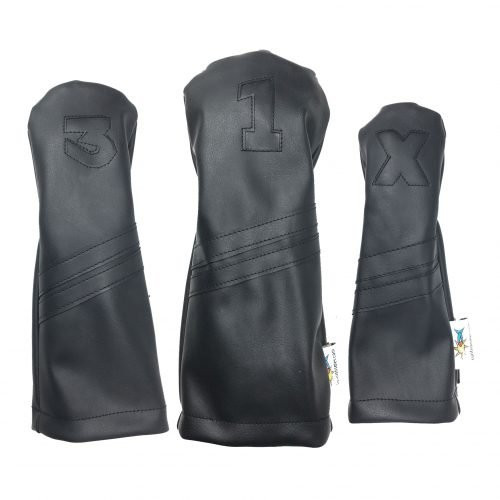 """Sunfish: DuraLeather Headcovers Set - Black on Black Stripes """"Murdered Out"""""""