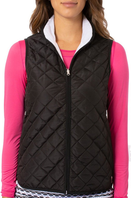 Golftini: Women's Reversible Wind Vest - Black / White