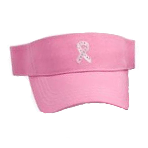 Pink Ribbon Breast Cancer Awareness Sport Visor - Pink with Rhinestones (Velcro)