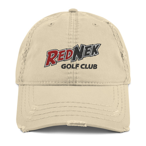 RedNek Golf Club - Embroidered Distressed Hat in Khaki