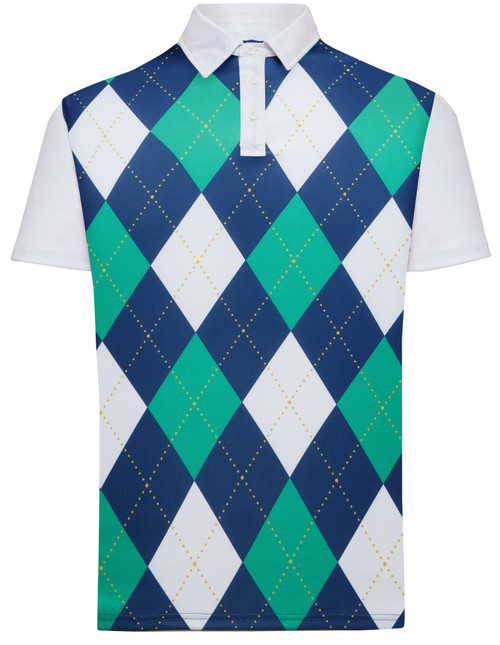 Classic Argyle Mens Golf Polo Shirt - Navy Blue, Green & White by ReadyGOLF