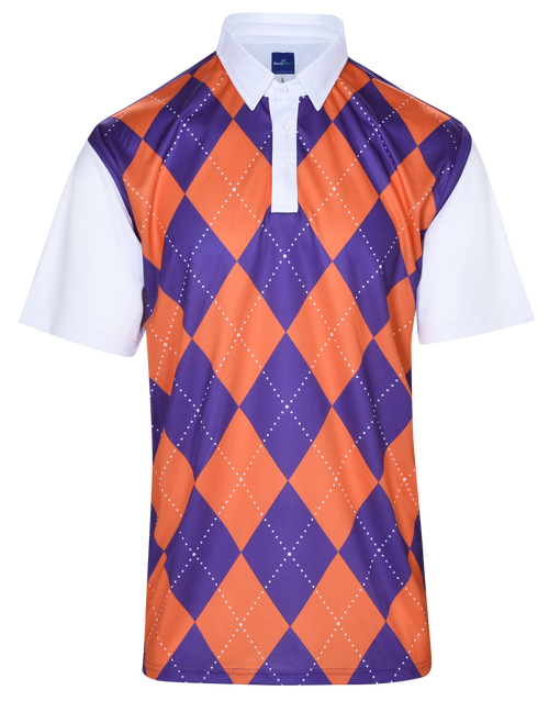 Classic Argyle Mens Golf Polo Shirt - Purple & Orange by ReadyGOLF