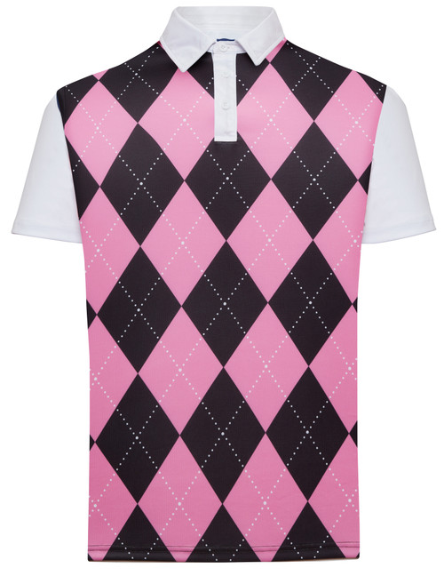 Classic Argyle Mens Golf Polo Shirt - Pink & Black by ReadyGOLF (Pre-Order)