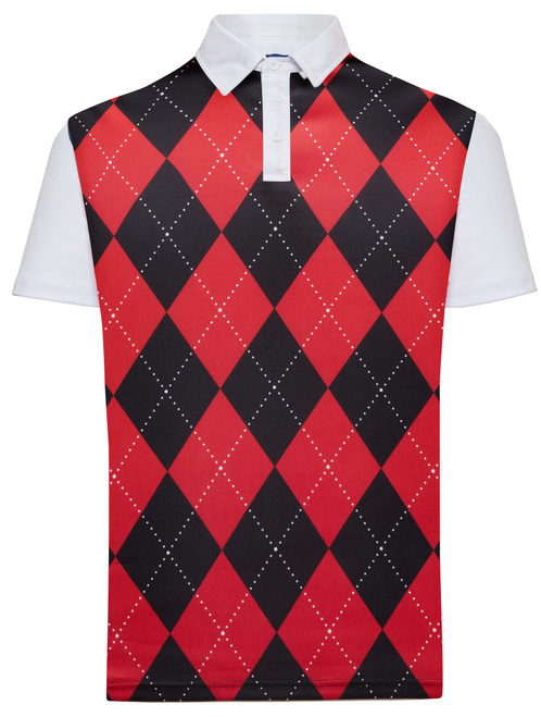 Classic Argyle Mens Golf Polo Shirt - Red & Black by ReadyGOLF (Pre-Order)