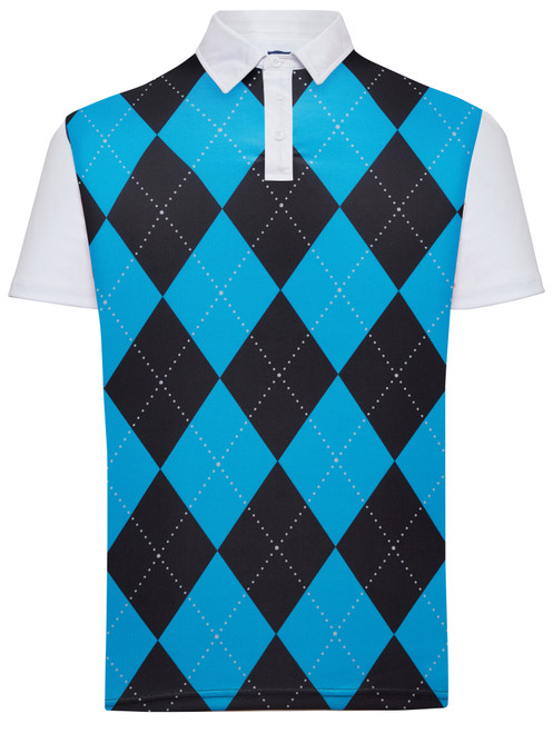 Classic Argyle Mens Golf Polo Shirt - Black & Blue by ReadyGOLF