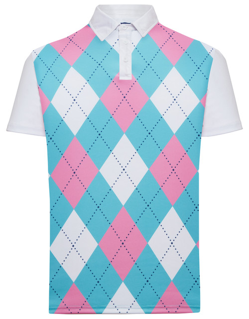 Classic Argyle Mens Golf Polo Shirt - Pink, Light Blue & White by ReadyGOLF