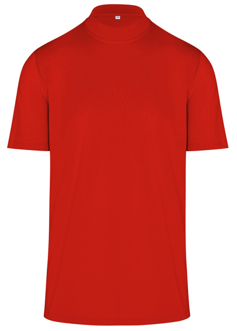 ReadyGOLF Mens Mock Neck Golf Polo Shirt - Red