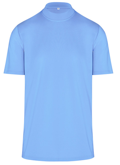 ReadyGOLF Mens Mock Neck Stretch Fit Polo Shirt - Blue