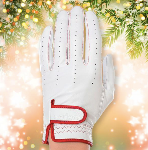 Nailed Golf: Women's Genuine Elegance Golf Glove: White with Red (Size: Large) SALE