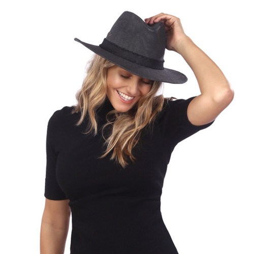 Ale by Alessandra - Womens Canvas Fedora Sun Hat - Jaxon - Charcoal/Black