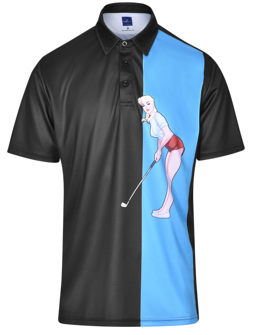 Chip In Mens Pin-Up Golf Polo Shirt by ReadyGOLF
