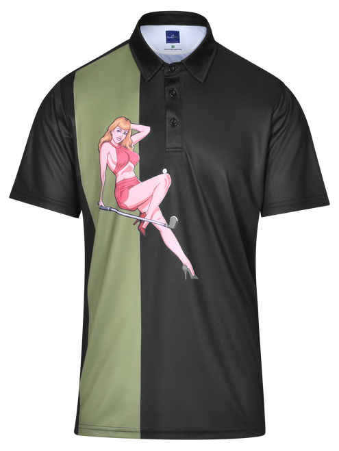 Tee It Up Mens Pin-Up Golf Polo Shirt by ReadyGOLF