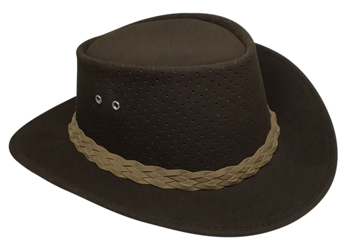 Aussie Chiller Outback Bushie Perforated Hat - Chocolate Brown