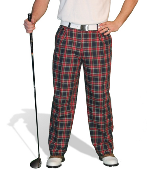 Golf Knickers: Men's 'Par 5' Cotton/Ramie Golf Trousers - Navy Stewart