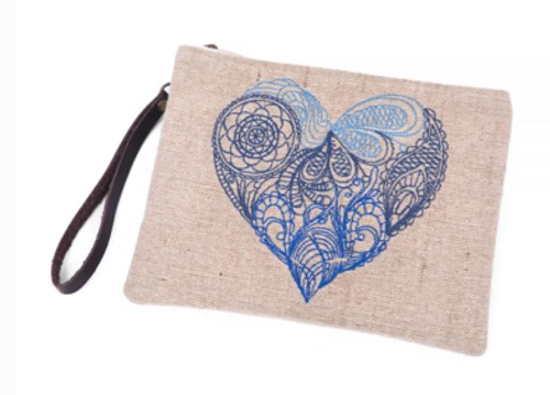 Physician Endorsed: Womens Bag/Clutch - Mendhi Heart (Natural)