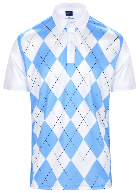 Classic Argyle Mens Golf Polo Shirt - Sky Blue & White by ReadyGOLF