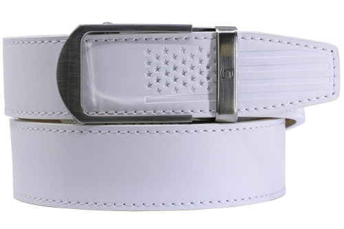 Nexbelt: Men's USA Flag Tip Debossed Belt - Smooth White