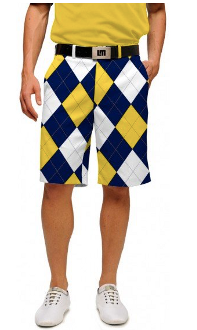 Loudmouth Golf: Men's StretchTech Shorts - Blue & Gold Mega