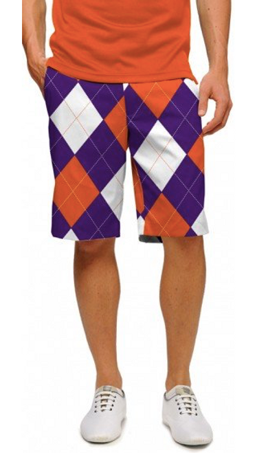 Loudmouth Golf: Men's StretchTech Shorts - Purple & Orange Argyle