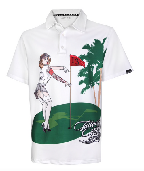 Tattoo Golf: Men's Pin High Performance Polo - White